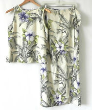 Tommy Bahama 2pc Sleeveless Top Maxi/Wrap Skirt Silk/Wool Floral Size S