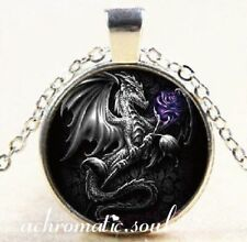 Black Dragon and Purple Rose Glass Dome Pendant Silver Colour Necklace
