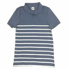 NEW ASOS M765 Mens Sz XS Blue White Striped Casual 3-Buttons S/S Polo Shirt