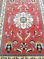 4'5 x 6'9  wool carpet handknotted handmade rug geometric