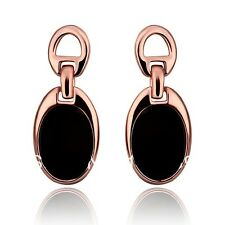 Narlino 18k Real Rose Gold Plated Black Oval Hanging Earrings