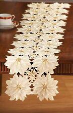 Elegant CHRISTMAS Embroidered POINSETTIA Cutwork TABLE RUNNER, NEW!