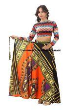 Women Dashiki Hippie Hight Waist Maxi Skirt Pleated Beach Long Wrap Around Dress