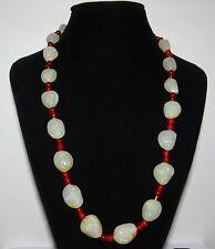 "0.9"" China Certified Nature Nephrite Hetian Jade White Pelsar 18 Arhat Necklace"