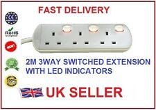 3 WAY 2 METRE SWITCHED EXTENSION LEADS w/ INDIVIDUAL NEON SWITCHES
