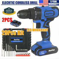 21V Cordless Tail Hammer & Magnet Drill 2X Li-Ion Battery Electric Drivers Tool