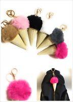 Ice Cream Keychain Keyring Handbag Faux Fur Fluffy Pompom Bag Charm Pendant Gift