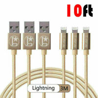 3 PACK Heavy Duty 10FT MFi Certified Charger for Apple iPhone X 8 7 6 Plus XR Xs