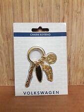 Volkswagen Beetle Gold Charm keyring, Surf Board, VW Logo, Beetle charms.