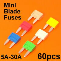 Quality 60pc Mini Blade Fuses For Car Van Motorcycle Fuse 5A 10A 15A 20A 25A 30A