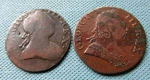 Lot of 2 1700s King George III British US Colonial Non Regal Halfpenny Coppers A