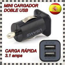 CARGADOR ADAPTADOR MECHERO COCHE USB DOBLE NEGRO MOVIL SAMSUNG SONY NOKIA IPHONE