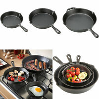 "Cast Iron Skillet Set 3-pack Pre Seasoned 12"" 10.5"" 8"" Stove Oven Cookware Black"