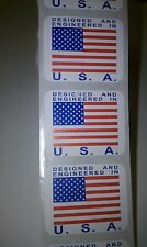 "500 ""DESIGNED AND ENGINEERED IN U.S.A."" Stickers/Labels 1.25"" x 1"", polyester"