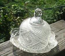 Dome  dish old pressed glass ornate pattern