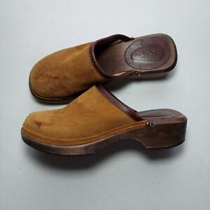 J Crew Clogs Shoes Womens 6 Slip On Brown Suede Chunky Wood 90s Vintage Italy