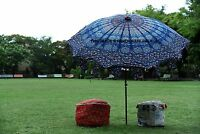 BLUE PEACOCK MANDALA GARDEN PATIO PARASOL TABLE SUN SHADE UMBRELLA OUTDOOR BEACH