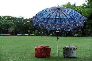 Bleu Paon Mandala Jardin Terrasse Patio Parasol Table Parapluie Extérieur