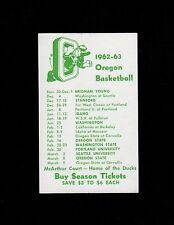 >1962-63 University of Oregon Ducks VINTAGE BASKETBALL POCKET SCHEDULE