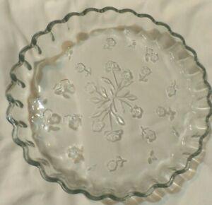 Anchor Hocking Clear Glass SAVANNAH  Quiche Pie dish flora design oven proof