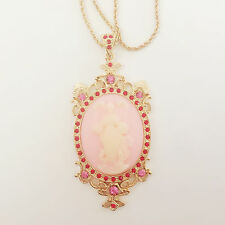 New Vintage Style Cameo Pink Floral Oval Crystals Charm Chain Necklace BR1432