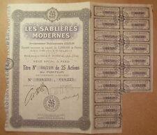 Titre Les Sablières modernes - Titre de 25 Actions au porteur 1935