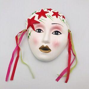 "Mardi Gras Style Porcelain Mask Red Stars White Face 5 7/8"" x 6"" Ribbons"