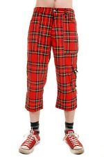 Mens Punk Rock Red Zip Bondage Tartan 3/4 Pants Trousers