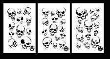 Mylar Camo Skull Gun Spray Painting Stencils RC Model Airbrush 3 Pack Skulls Set