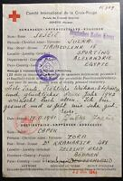 1941 Alexandria Egypt Censored Red Cross Letter Cover To Brod Czechoslovakia