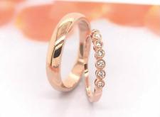 .13 Carat Diamond Rose Gold Wedding Rings 14K (MTO) sep