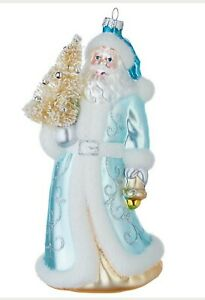 Raz Blue Santa Glass Christmas Ornament