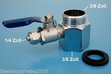 """Wasseranschluss Adapter + Absperrhahn 3/8"""" Osmoseanlage Wasserfilter Kugelventil"""
