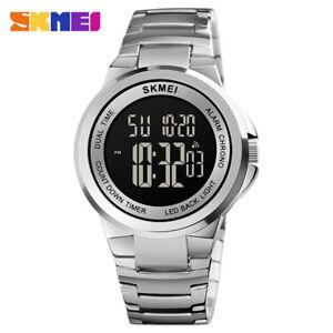 SKMEI Stainless Steel Male Digital Watches Countdown Luminous Stopwatch 1712 AC