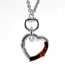 AUTHENTIC GUCCI Sterling Silver & Bamboo Heart Pendant Necklace