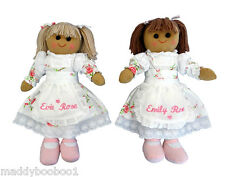 Personalised Vintage Rose Rag Doll 40cm Toy Gift Girl Bridesmaid Christening
