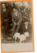 Studio Real Photo Postcard RPPC - Three Men with a Pit Pitt Bull Dog Duluth MN