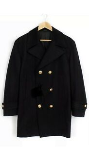 Versace Collection Wool  Double Breasted Trench Coat Pea Coat Black  Size 46