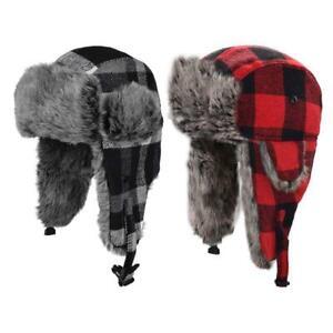 Unisex Winter Trapper Hat Lattice Plaid Print Plush Lined Ushanka Earflap Cap