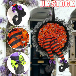 Halloween Wreath Garland Outdoor Yard Decor Props Spider Witch Party Door Decor