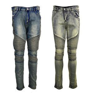 US Men Ripped Skinny Jeans Trousers Distressed Frayed Slim Fit Biker Denim Pants