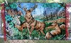 Velvet Wall Tapestry Rug Deer in Forest w/ Buck Man Cave Cabin Decor