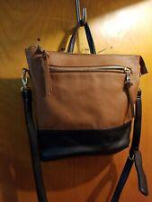 Steve Madden Brown and Black Trim large Faux Leather Satchel Purse Crossbody Bag