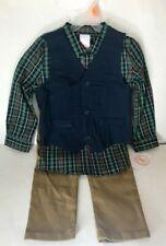 Toddler Boys Dressy 3 Piece Set Green Plaid Shirt Blue Vest Khaki Pants 4T-5T