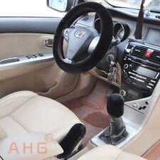 3Pcs/Set Black Soft Plush Wool Steering Wheel Cover Furry Fluffy Car Accessory