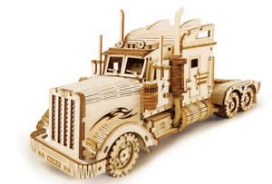 3D DIY Big Wheels Truck Wooden Model Building Kit Puzzle Kids Adults Fun Gift