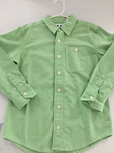 P.S. Aéropostale Boys Solid Green Long Sleeve Button Down Shirt, Size 6