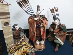 """Japanese Antique Large Doll 24"""" Emperor Ojin, Takenouchi no Sukune & More, Edo"""