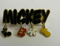 Disney Mickey Mouse Name Dangle Pants Ears Shoes Gloves Pin