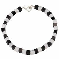 Armband aus Onyx & Bergkristall & 925 Silber, schwarz weiß, Armschmuck für Damen
